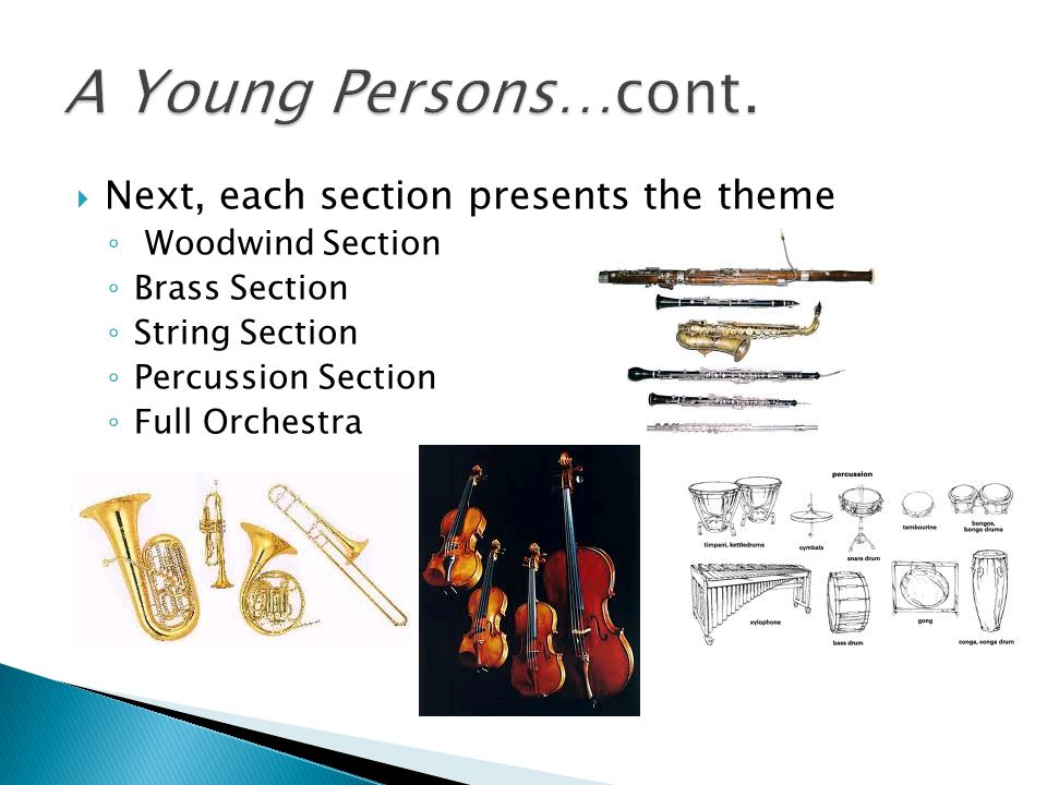 A Young Persons…cont. Next, each section presents the theme