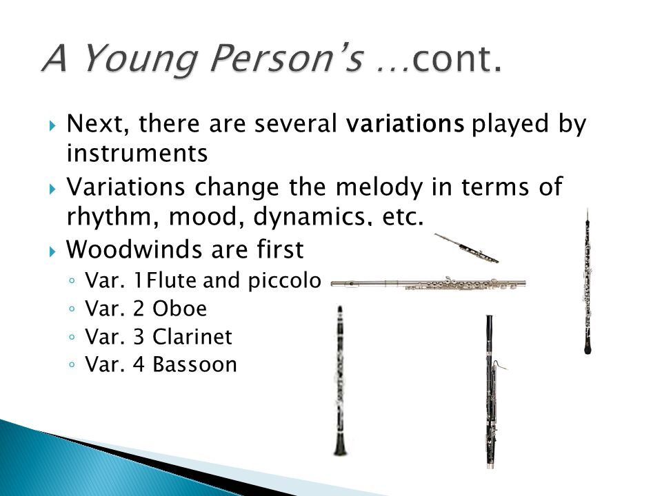 A Young Person's …cont. Next, there are several variations played by instruments.