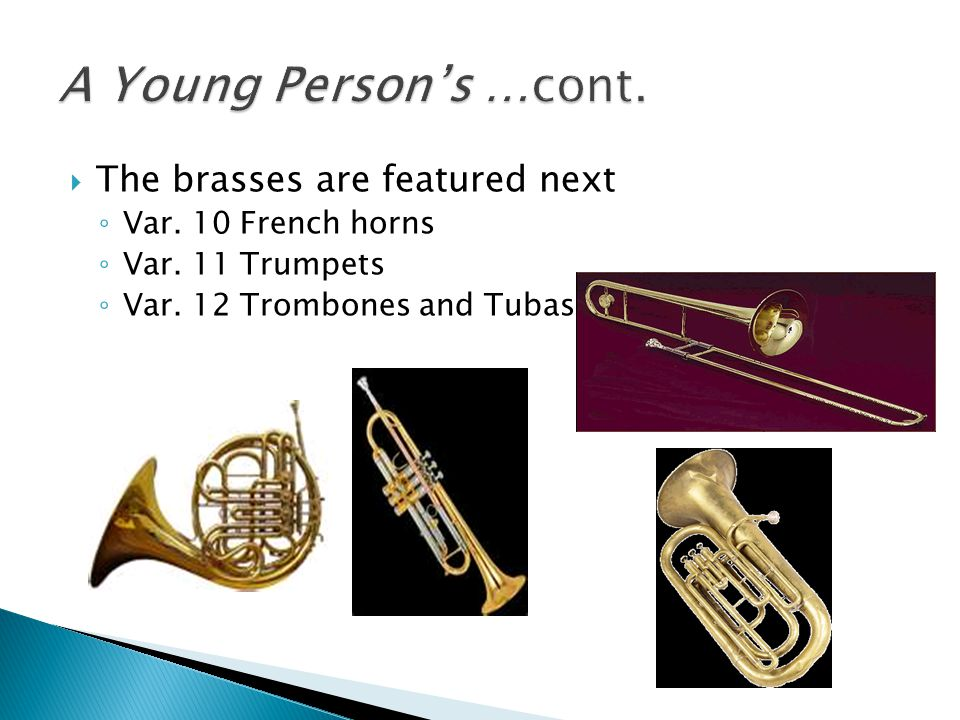 A Young Person's …cont. The brasses are featured next