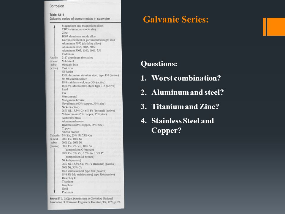 Galvanic Series: Questions: Worst combination Aluminum and steel