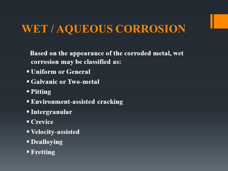 WET / AQUEOUS CORROSION