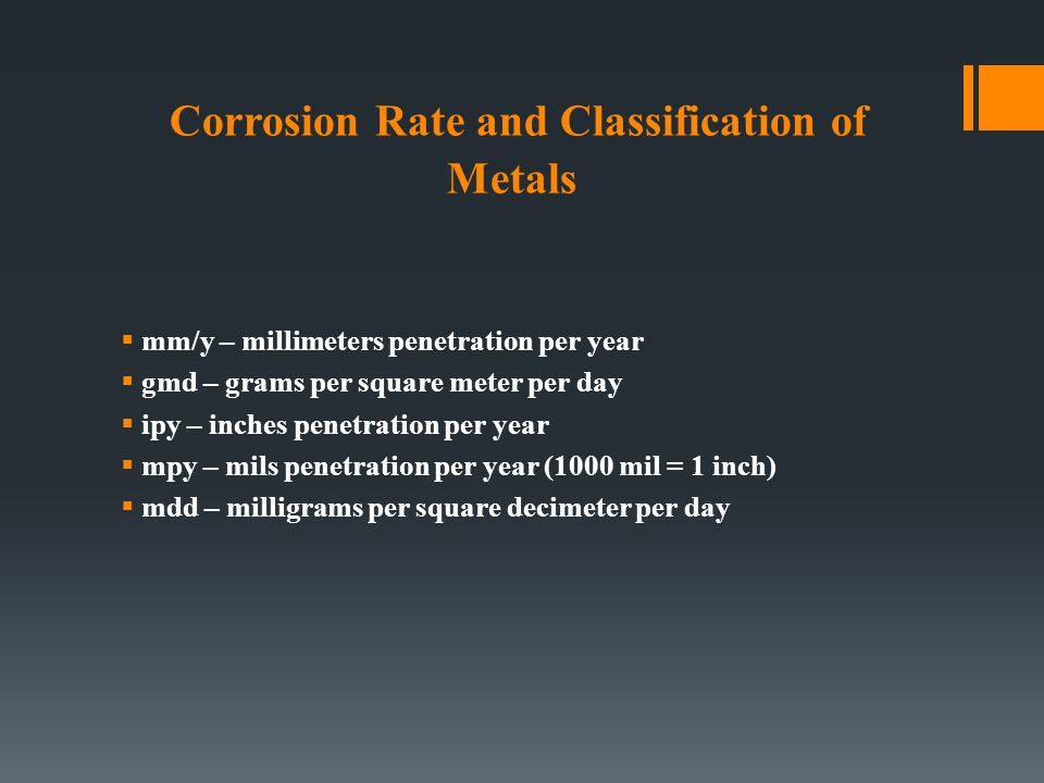 Corrosion Rate and Classification of Metals