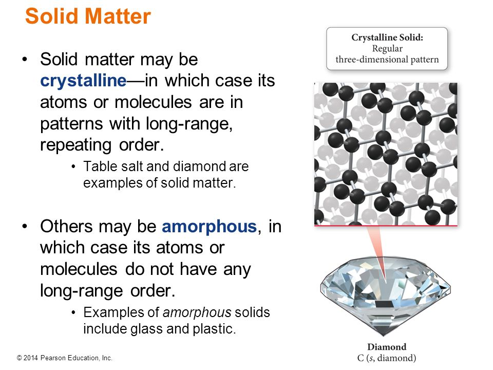 Solid Matter Solid matter may be crystalline—in which case its atoms or molecules are in patterns with long-range, repeating order.