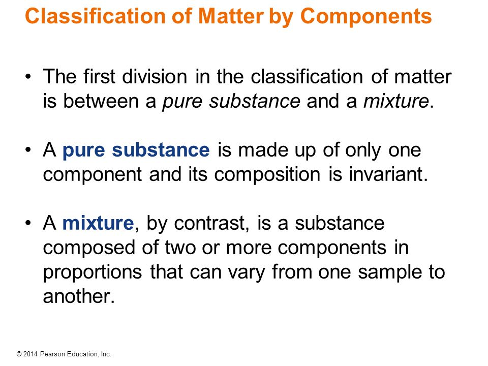 Classification of Matter by Components