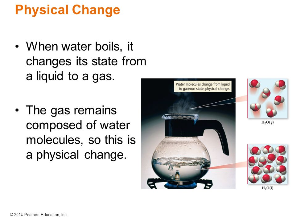 Physical Change When water boils, it changes its state from a liquid to a gas.