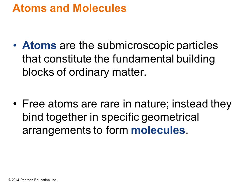 Atoms and Molecules Atoms are the submicroscopic particles that constitute the fundamental building blocks of ordinary matter.