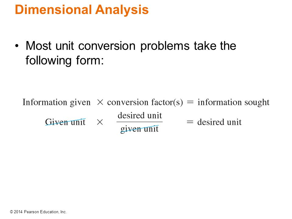 Dimensional Analysis Most unit conversion problems take the following form: