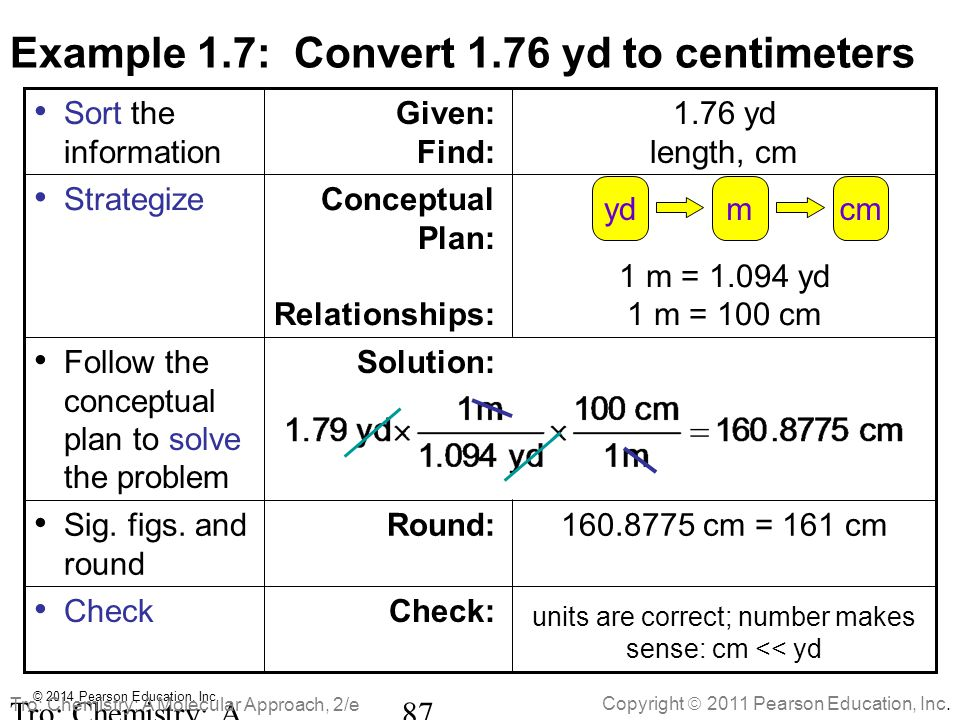 Example 1.7: Convert 1.76 yd to centimeters
