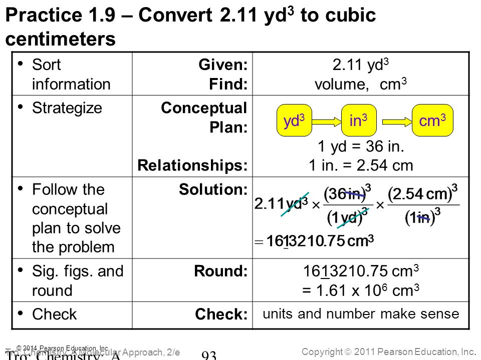 Practice 1.9 – Convert 2.11 yd3 to cubic centimeters