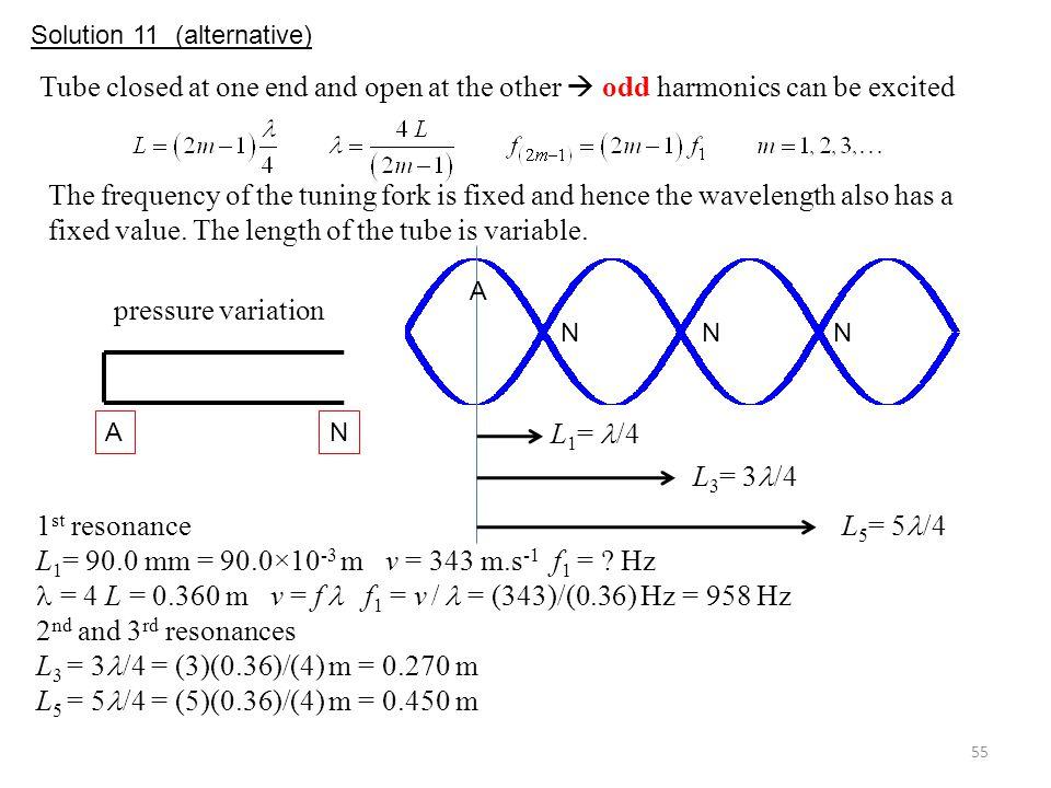 = 4 L = 0.360 m v = f  f1 = v /  = (343)/(0.36) Hz = 958 Hz