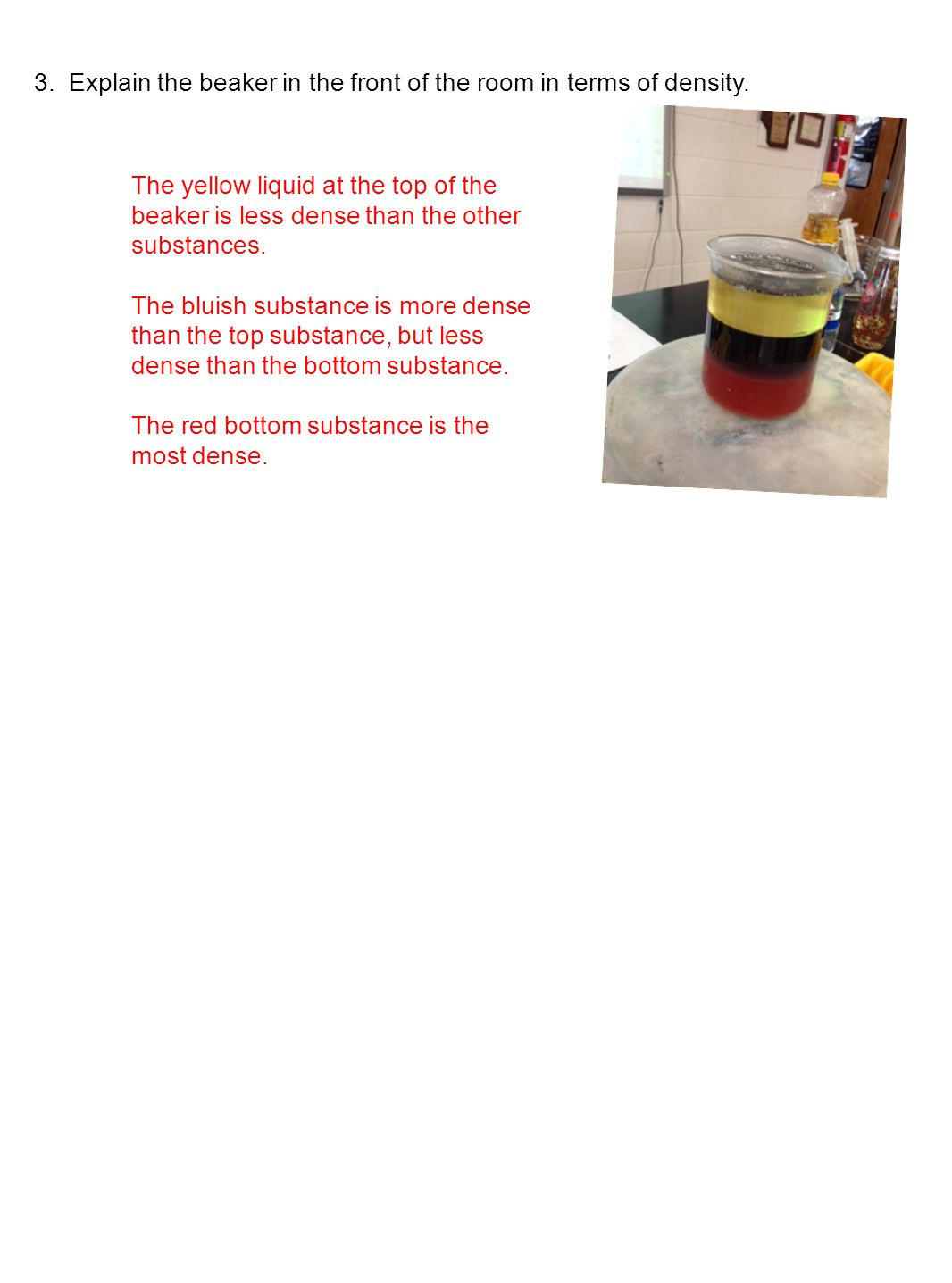 3. Explain the beaker in the front of the room in terms of density.
