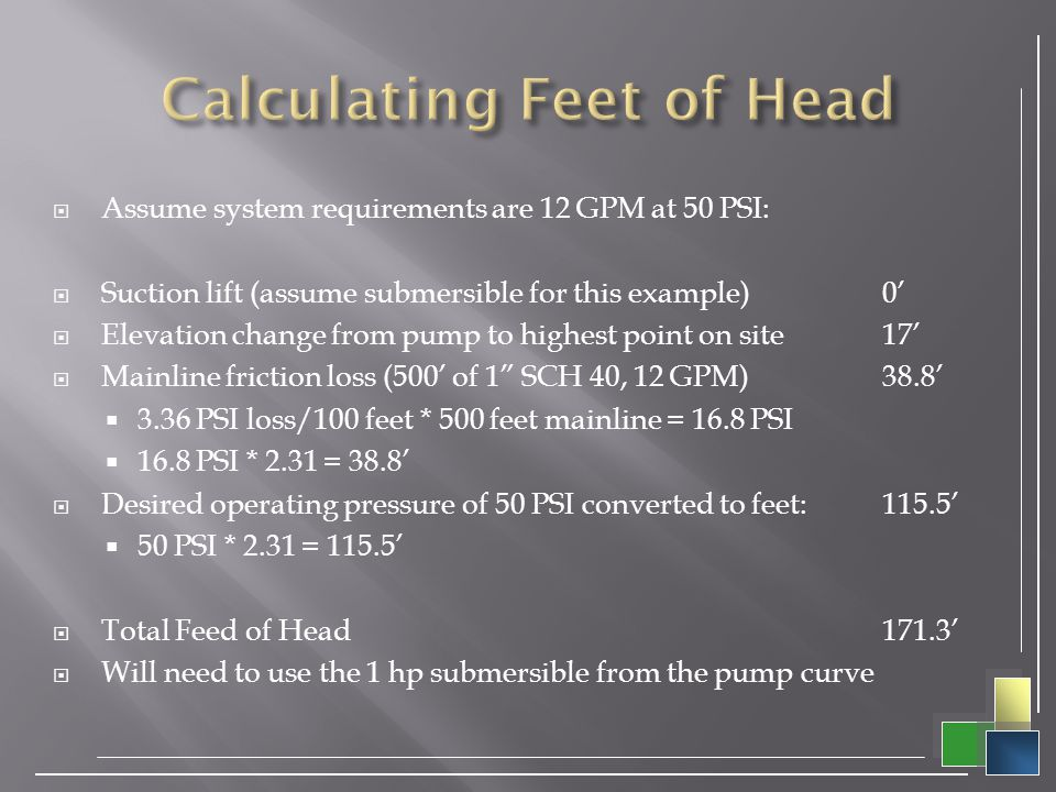 Calculating Feet of Head