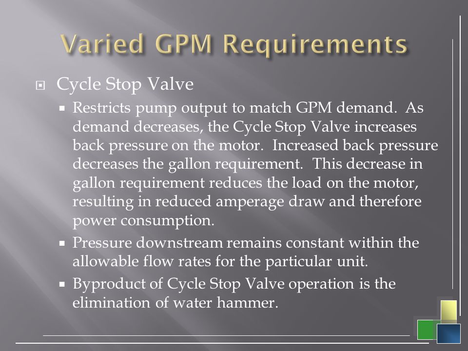 Varied GPM Requirements