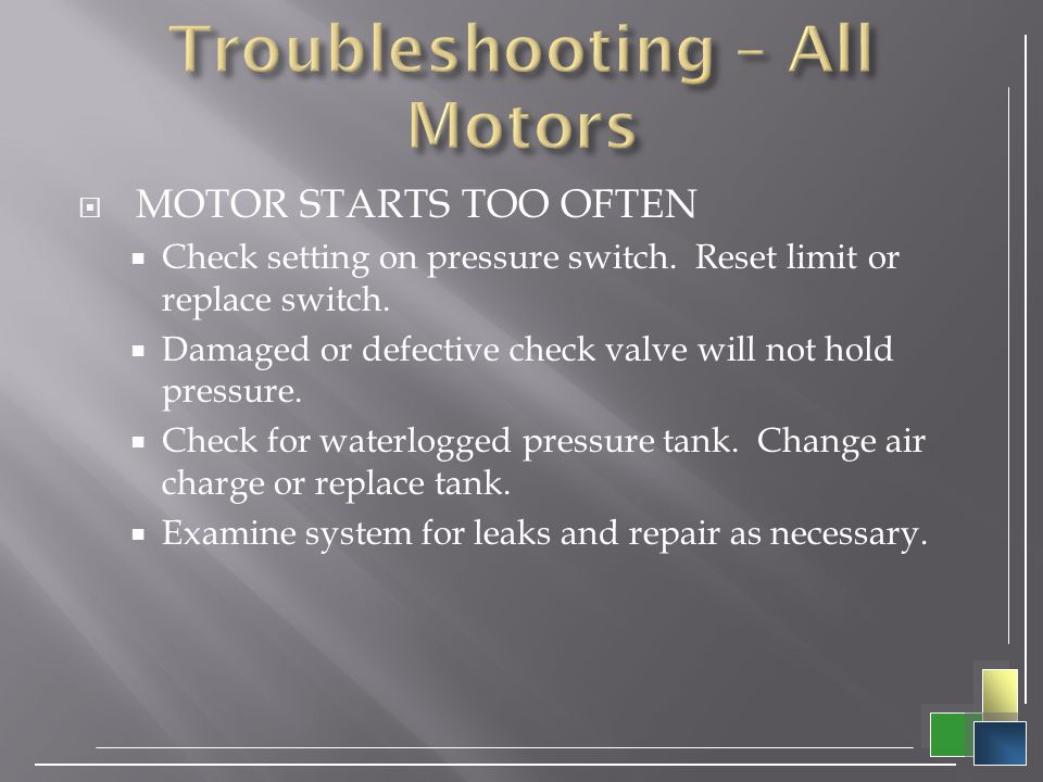 Troubleshooting – All Motors