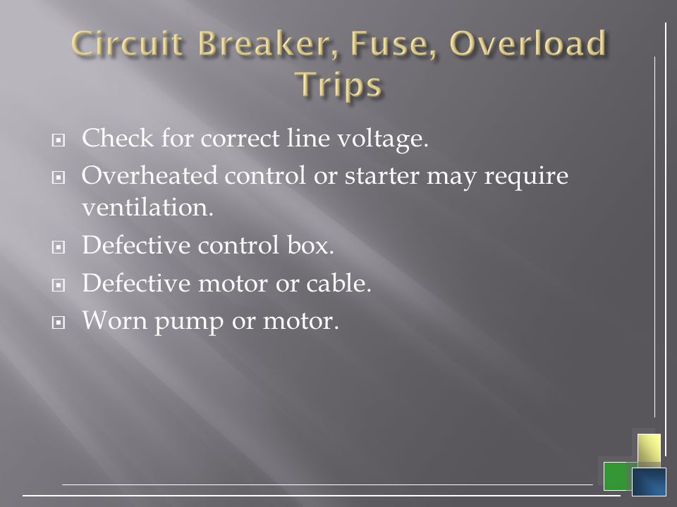 Circuit Breaker, Fuse, Overload Trips