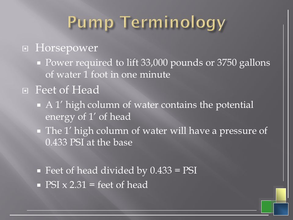 Pump Terminology Horsepower Feet of Head