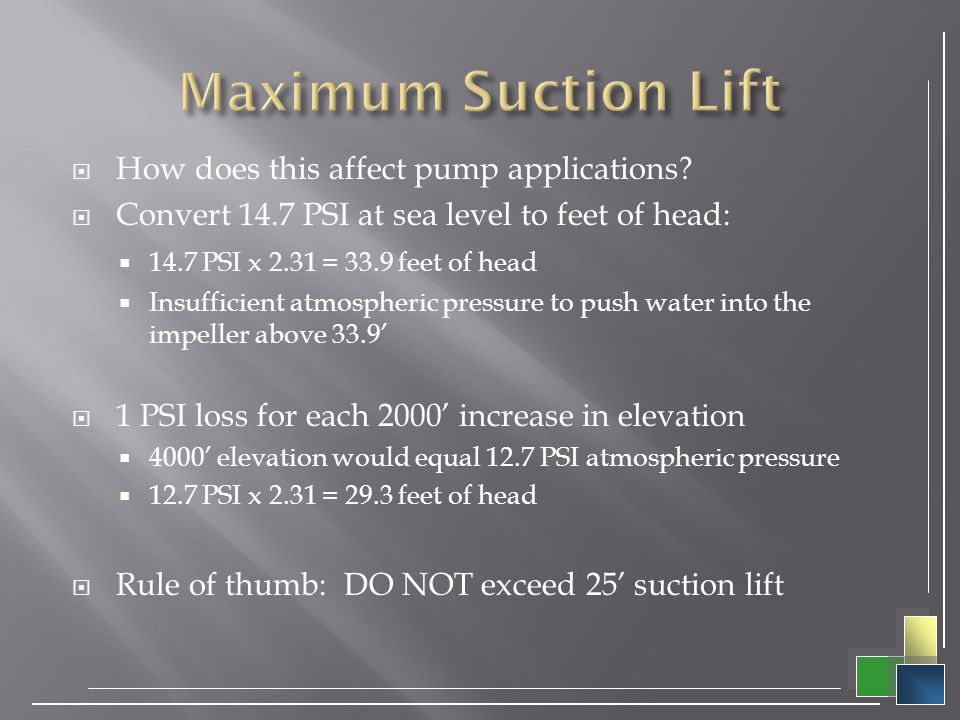 Maximum Suction Lift How does this affect pump applications