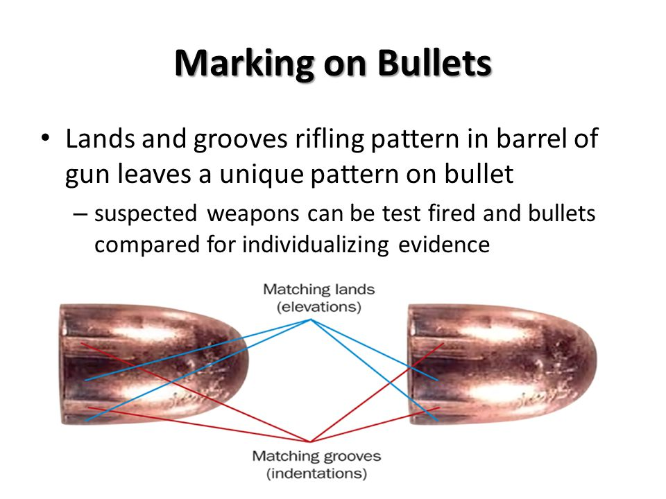 Marking on Bullets Lands and grooves rifling pattern in barrel of gun leaves a unique pattern on bullet.
