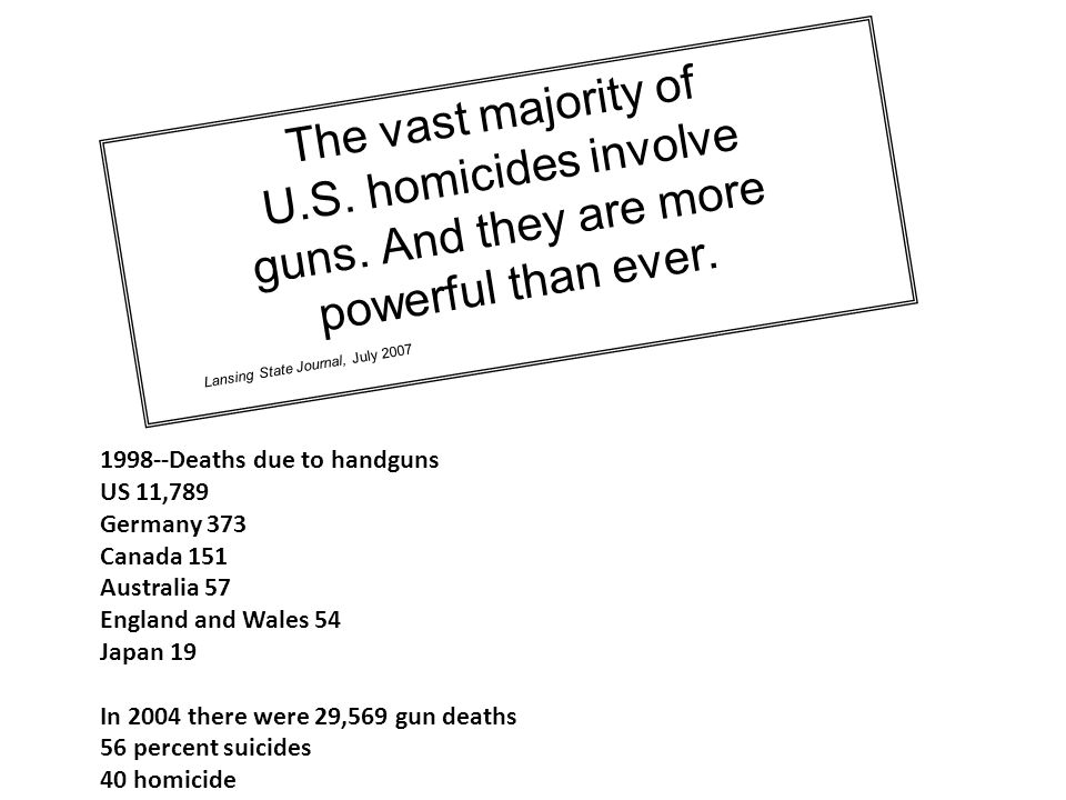 The vast majority of U.S. homicides involve guns. And they are more
