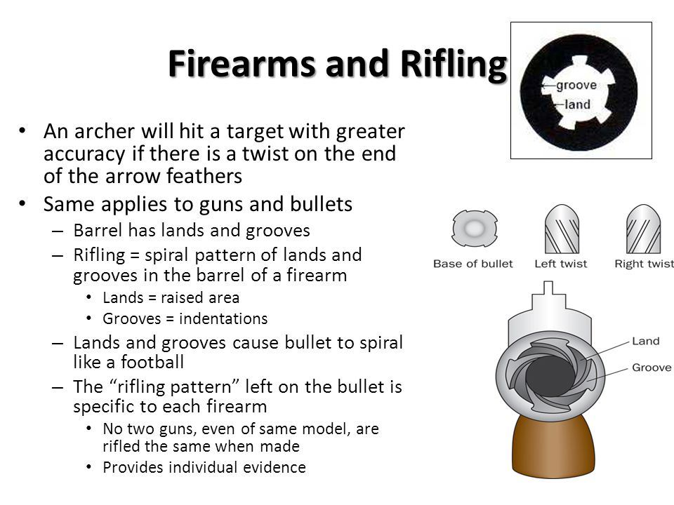 Firearms and Rifling An archer will hit a target with greater accuracy if there is a twist on the end of the arrow feathers.