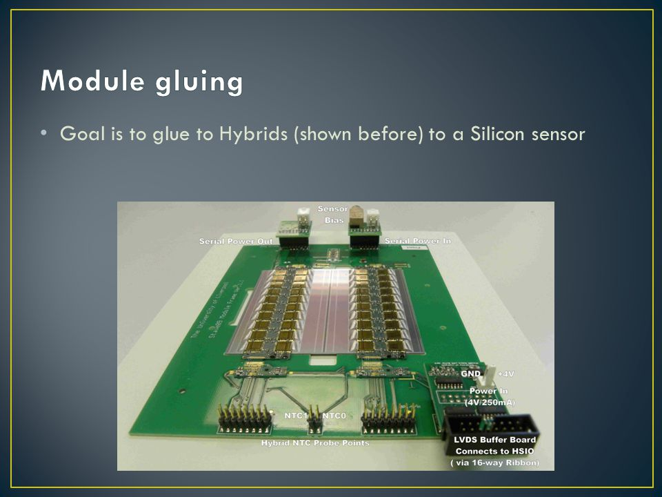 Module gluing Goal is to glue to Hybrids (shown before) to a Silicon sensor