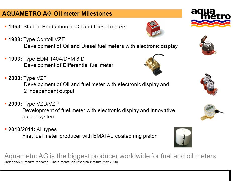 Aquametro AG is the biggest producer worldwide for fuel and oil meters