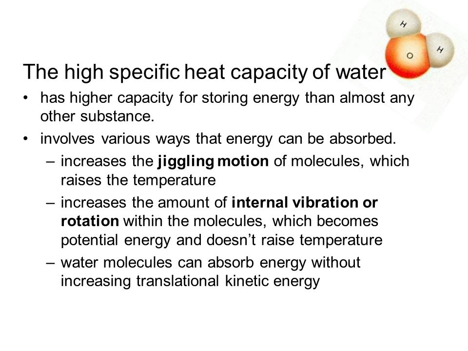 The high specific heat capacity of water
