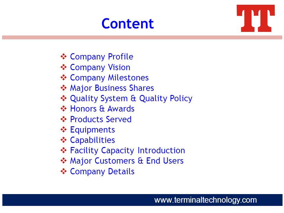 Content Company Profile Company Vision Company Milestones