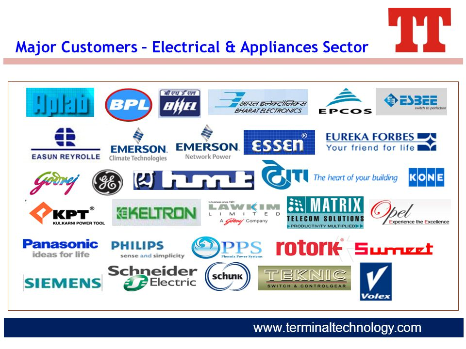 Major Customers – Electrical & Appliances Sector