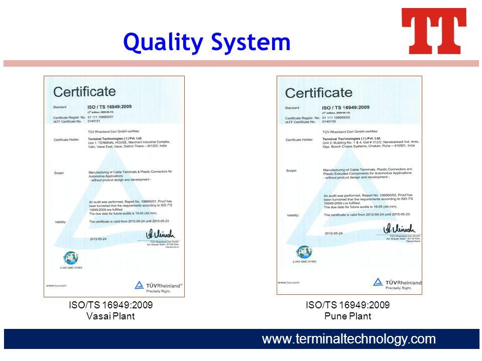 Quality System ISO/TS 16949:2009 Vasai Plant ISO/TS 16949:2009