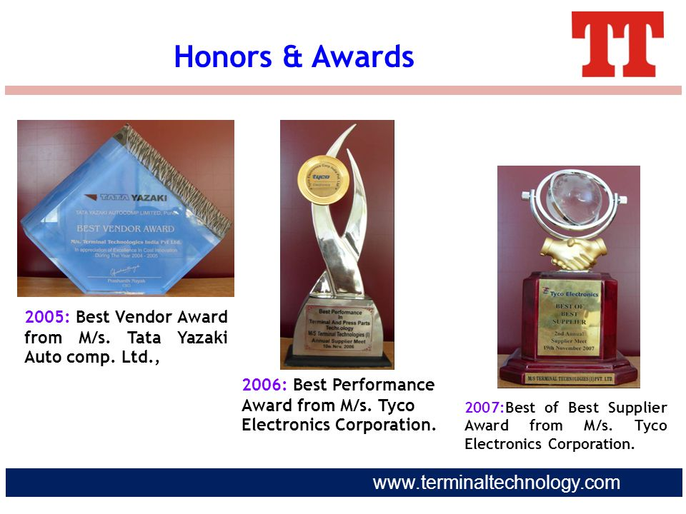 Honors & Awards 2005: Best Vendor Award from M/s. Tata Yazaki Auto comp. Ltd., 2006: Best Performance Award from M/s. Tyco Electronics Corporation.