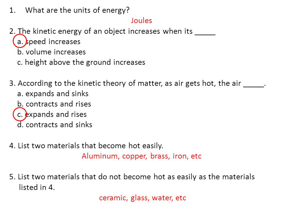 What are the units of energy Joules