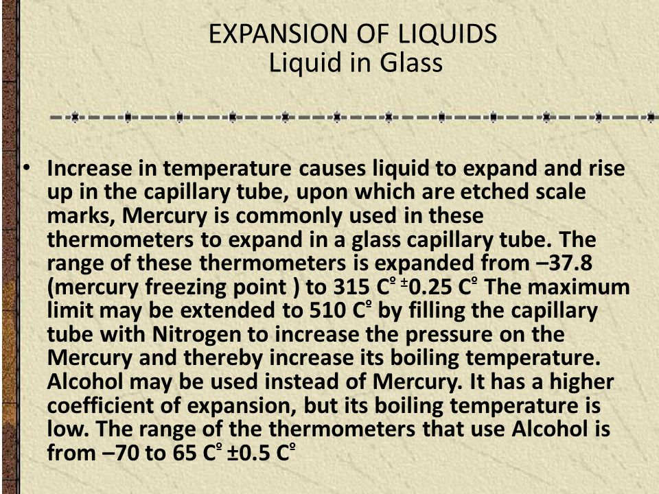 EXPANSION OF LIQUIDS Liquid in Glass