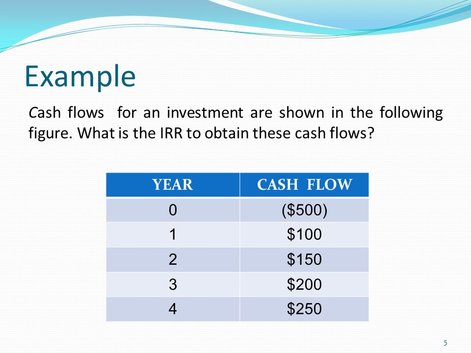 Example Cash flows for an investment are shown in the following figure. What is the IRR to obtain these cash flows