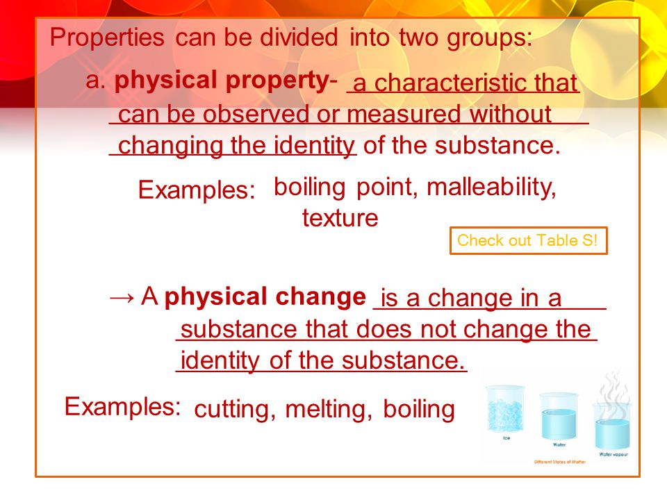 Properties can be divided into two groups: