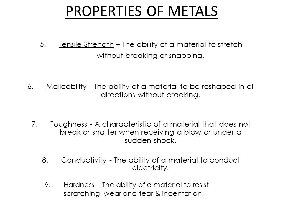 Conductivity - The ability of a material to conduct electricity.