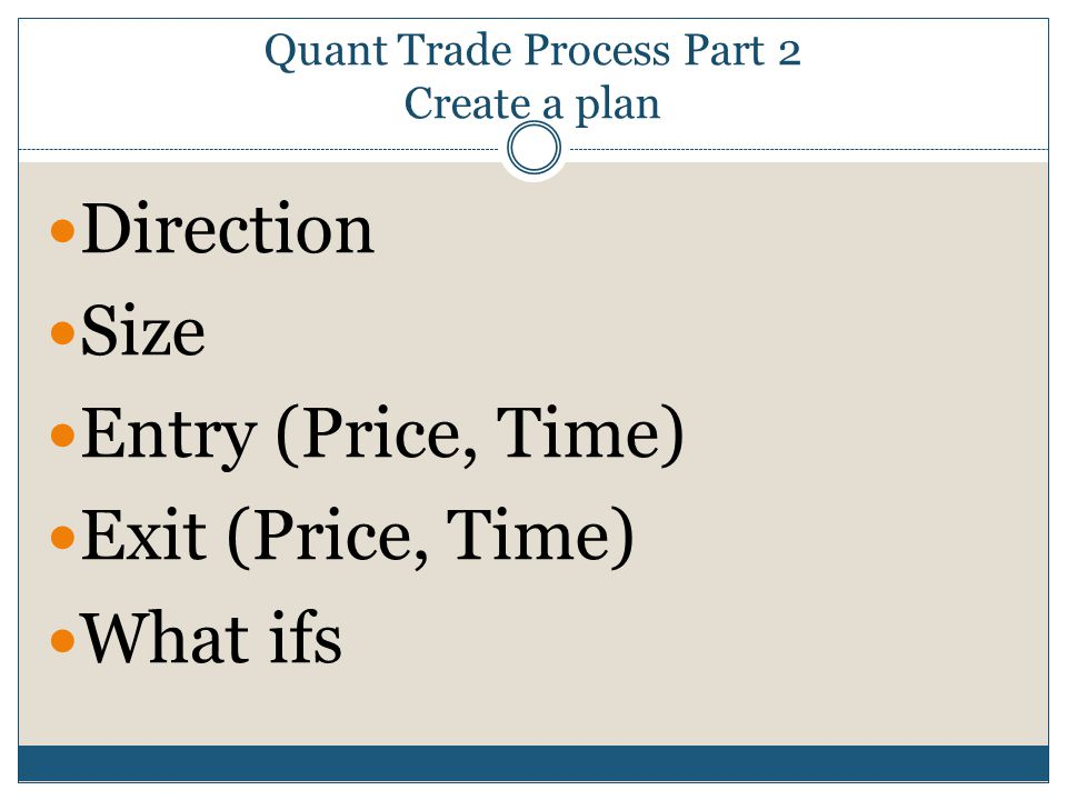 Quant Trade Process Part 2 Create a plan