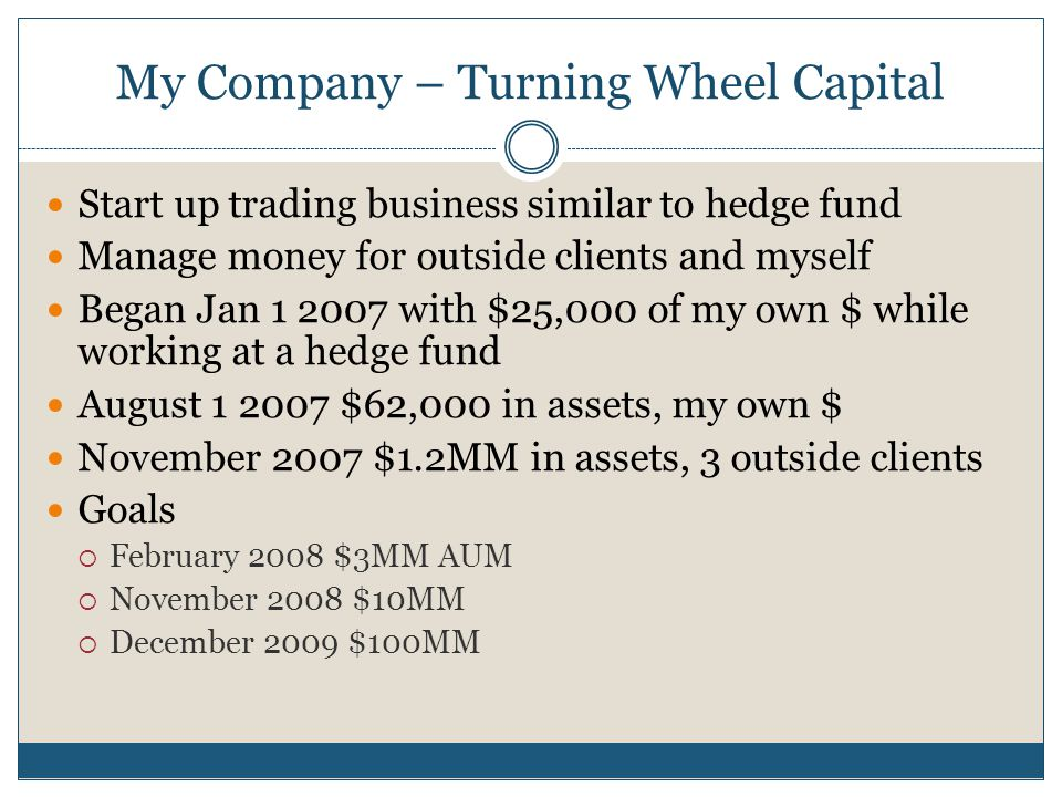 My Company – Turning Wheel Capital