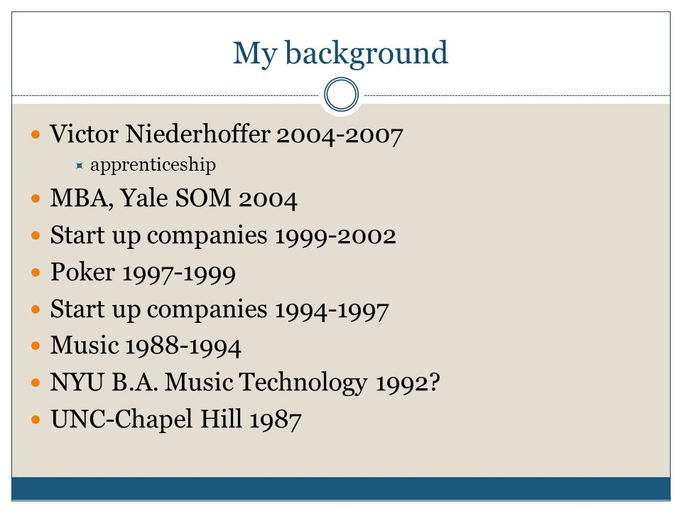 My background Victor Niederhoffer 2004-2007 MBA, Yale SOM 2004