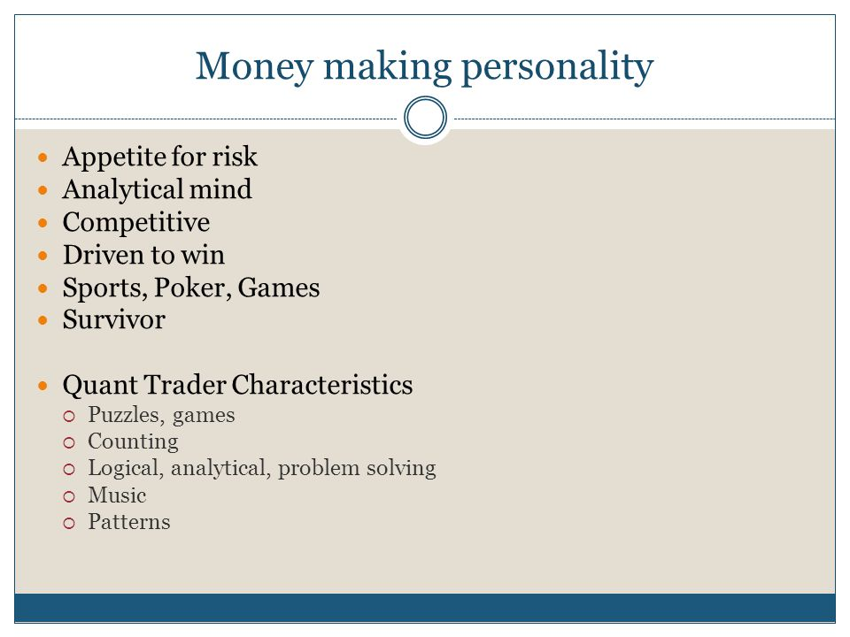 Money making personality