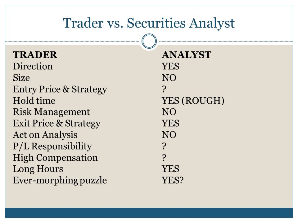 Trader vs. Securities Analyst