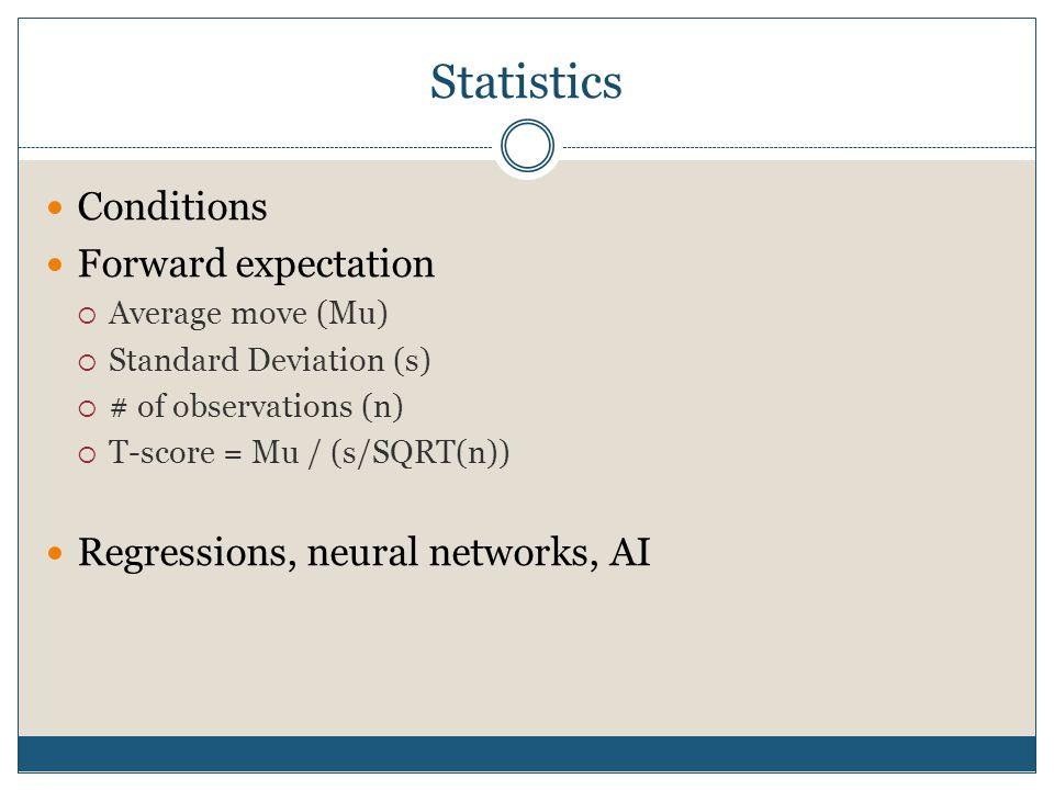 Statistics Conditions Forward expectation