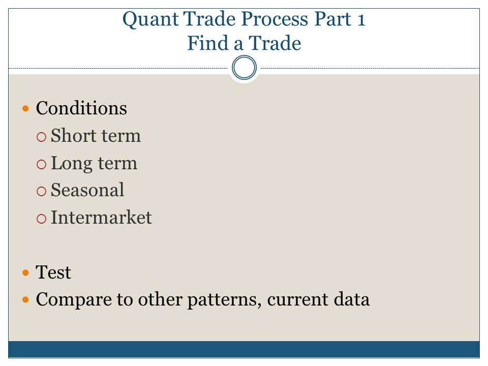 Quant Trade Process Part 1 Find a Trade