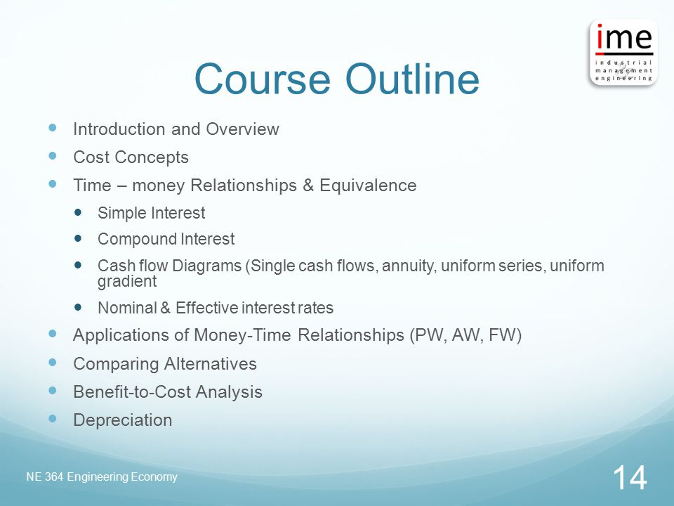 Course Outline Introduction and Overview Cost Concepts