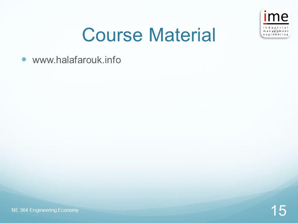 Course Material www.halafarouk.info NE 364 Engineering Economy