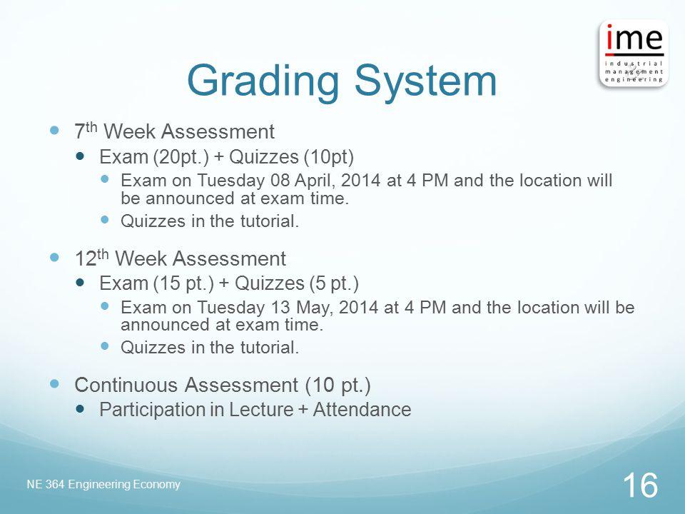 Grading System 7th Week Assessment 12th Week Assessment