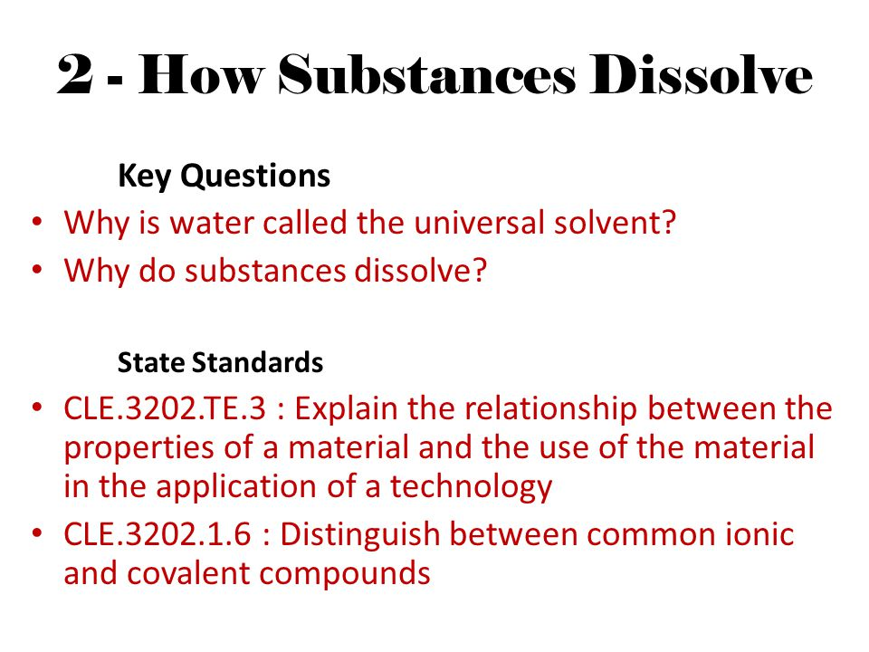 2 - How Substances Dissolve