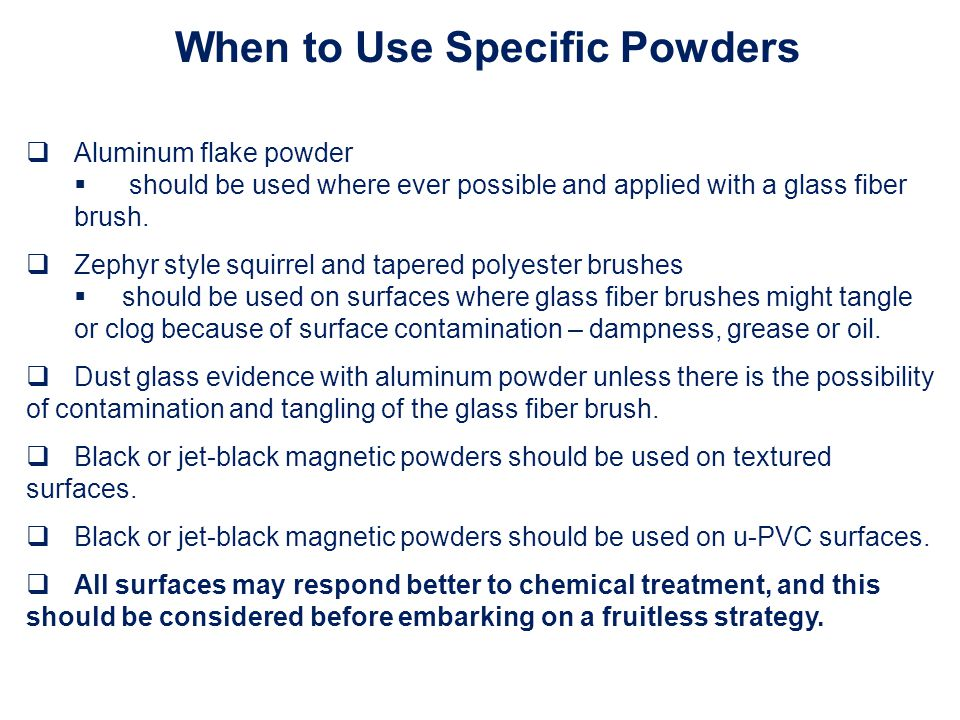 When to Use Specific Powders