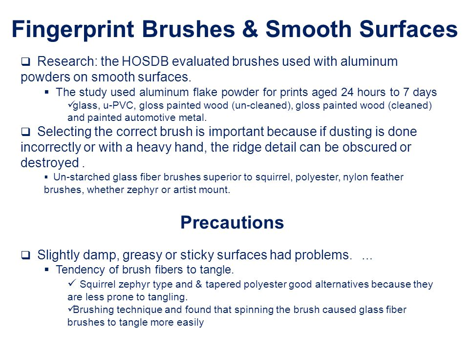 Fingerprint Brushes & Smooth Surfaces