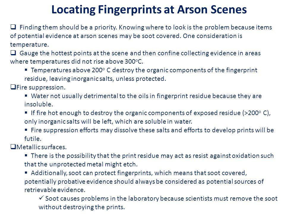 Locating Fingerprints at Arson Scenes